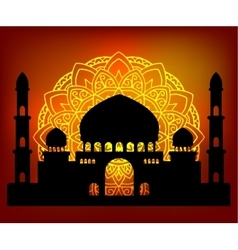 Silhouette Arab indian temple vector