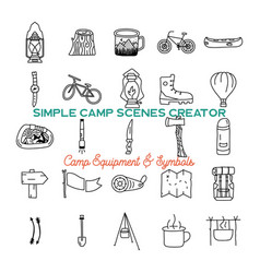 simple camping icons shapes set logo vector image