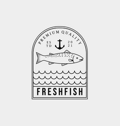 Smoked and grill fish restaurant icon fresh fish vector