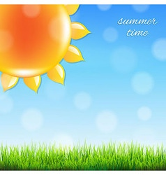 Summer Sun With Grass vector image