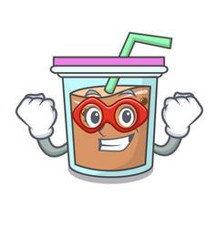 Super hero bubble tea character cartoon vector