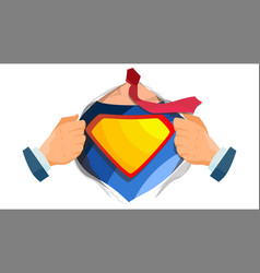 superhero sign super hero open shirt with vector image