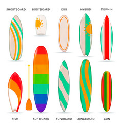 surfboards colored realistic collection vector image
