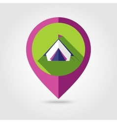 Tent flat mapping pin icon with long shadow vector