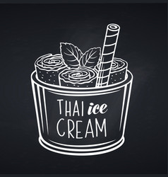 thai ice cream roll with waffle vector image