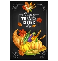 Thanksgiving Day holiday greeting poster vector image