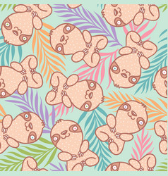 Tropical pattern with cute sloth vector