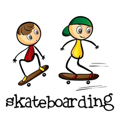 Two boys skateboarding vector