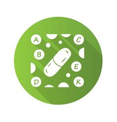 Vitamin pills green flat design long shadow glyph vector