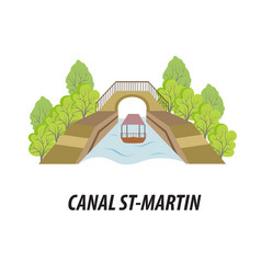 With the canal st martin of paris vector
