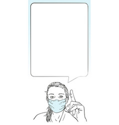 woman wearing medical face mask and pointing vector image