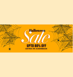 yellow halloween sale banner with spider web vector image