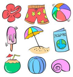 Art summer object doodles vector