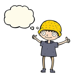 Cartoon boy with positive attitude with thought vector