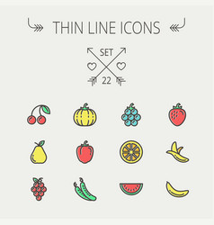 food and drink thin line icon set vector image