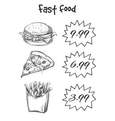 hand drawn fast food menu isolated on white vector image vector image