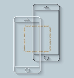 Template of mobile phones with long shadow for vector