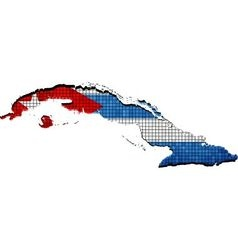 Cuba map with flag inside vector image