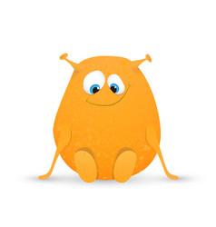 cute orange monster vector image vector image