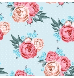 Seamless peony and forget-me-not vector image