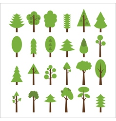 Set of flat icons tree Green trees icons set vector image
