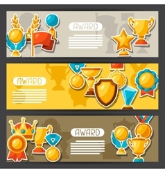 Sport or business award sticker icons banners vector