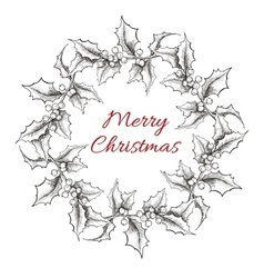 Vintage engraving Christmas wreath vector image