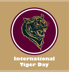 International tiger day poster template with angry vector