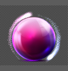 realistic violet glass sphere transparent vector image vector image