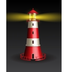 Red lighthouse on black background vector image