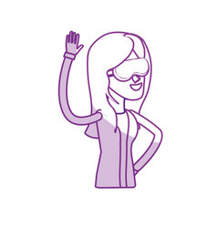 Silhouette happy pretty woman with glasses and vector
