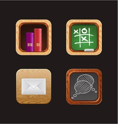 wood web icon app vector image vector image