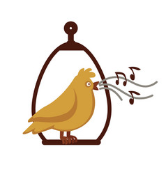 canary bird singing on pole cartoon icon vector image vector image