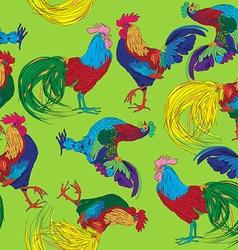 colored roosters pattern vector image vector image