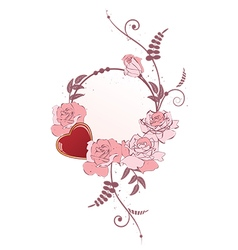 Frame with heart and roses vector