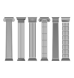 greek and roman columns set vector image vector image