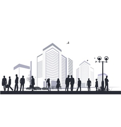 many silhouettes in city vector image vector image