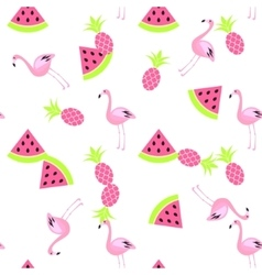 Tropic summer seamless white pattern vector image vector image