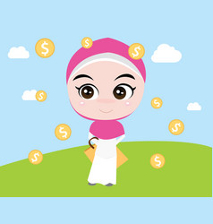 A moslem girl like shopping with shopping bags vector