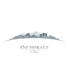 Anchorage Alaska city skyline silhouette vector image