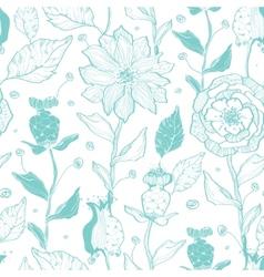 aqua lineart flowers seamless pattern vector image