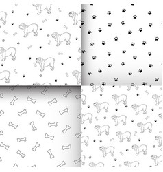 Awesome set of seamless patterns with cute dogs vector