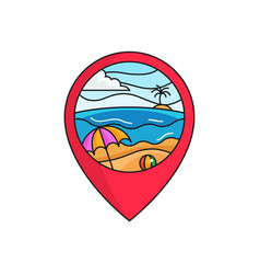 Bach map pin locator logo badge sunny weather vector