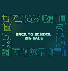 back to school big sale linear colored vector image
