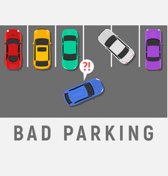 Bad parking car top view wrong parking area vector