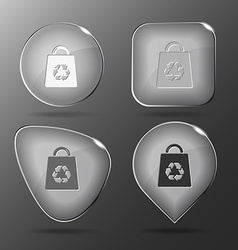 Bag with recycle symbol Glass buttons vector image