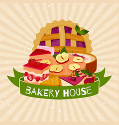 bakery house banner homemade berries pies dessert vector image