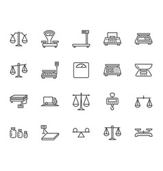 balance flat line icons set weight measurement vector image