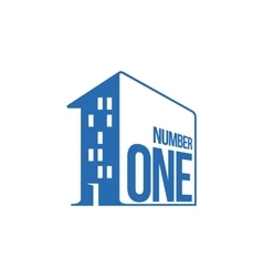 Blue and white number one logo as apartment house vector