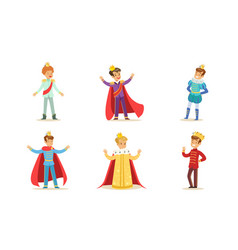 Boys in different costumes kings and princes vector